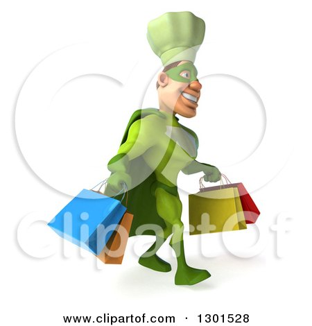 Clipart of a 3d Green Caucasian Male Super Chef Walking to the Right with Shopping Bags - Royalty Free Illustration by Julos