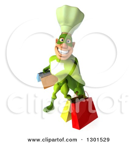 Clipart of a 3d Green Caucasian Male Super Chef Smiling, Looking up and Carrying Shopping Bags - Royalty Free Illustration by Julos