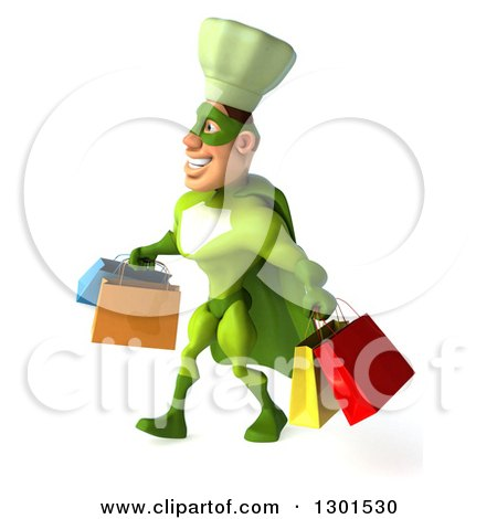 Clipart of a 3d Green Caucasian Male Super Chef Walking to the Left with Shopping Bags - Royalty Free Illustration by Julos