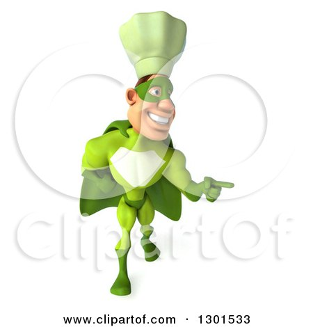 Clipart of a 3d Green Caucasian Male Super Chef Walking and Pointing to the Left - Royalty Free Illustration by Julos