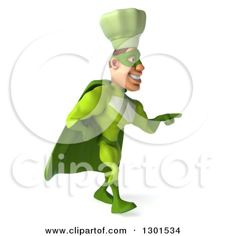 Clipart of a 3d Green Caucasian Male Super Chef Walking and Pointing Left - Royalty Free Illustration by Julos