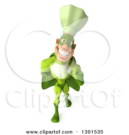 Clipart of a 3d Green Caucasian Male Super Chef Walking and Pointing - Royalty Free Illustration by Julos
