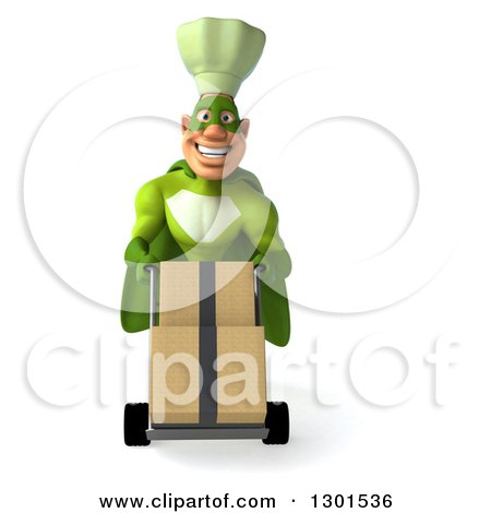 Clipart of a 3d Happy Green Caucasian Male Super Chef Moving Boxes on a Dolly - Royalty Free Illustration by Julos