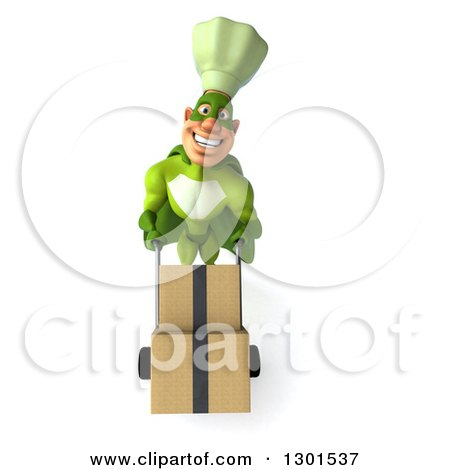 Clipart of a 3d Green Caucasian Male Super Chef Moving Boxes on a Dolly - Royalty Free Illustration by Julos