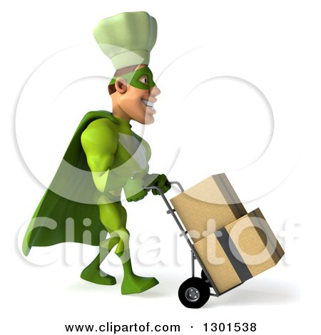 Clipart of a 3d Green Caucasian Male Super Chef Facing Right and Moving Boxes on a Dolly - Royalty Free Illustration by Julos