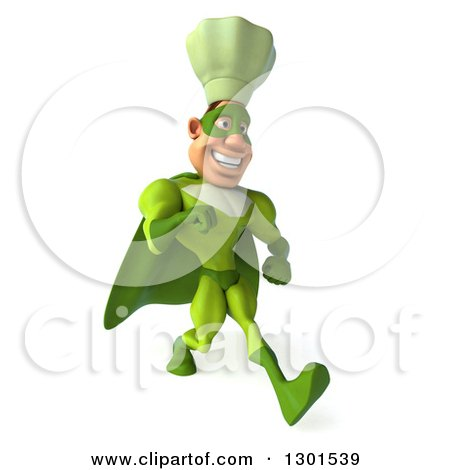 Clipart of a 3d Green Caucasian Male Super Chef Speed Walking to the Right - Royalty Free Illustration by Julos