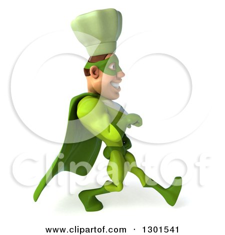 Clipart of a 3d Green Caucasian Male Super Chef Speed Walking to the Right 2 - Royalty Free Illustration by Julos
