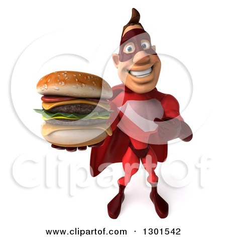 Clipart of a 3d Caucasian Red Super Hero Man Pointing to and Holding up a Double Cheeseburger - Royalty Free Illustration by Julos