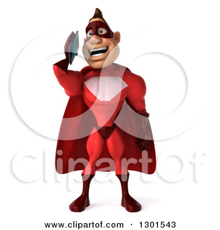 Clipart of a 3d Caucasian Red Super Hero Man Talking on a Smart Cell Phone - Royalty Free Illustration by Julos