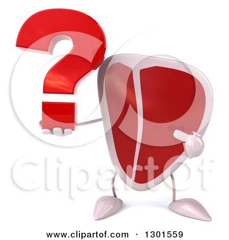 Clipart of a 3d Beef Steak Character Holding and Pointing to a Question Mark - Royalty Free Illustration by Julos
