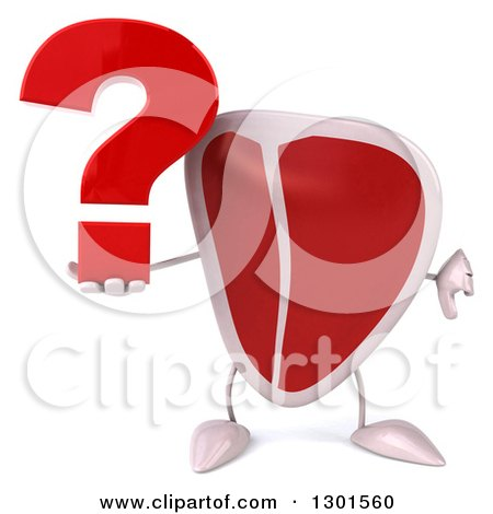 Clipart of a 3d Beef Steak Character Holding a Question Mark and Thumb down - Royalty Free Illustration by Julos
