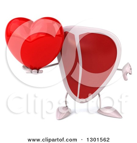 Clipart of a 3d Beef Steak Character Holding a Heart and Thumb down - Royalty Free Illustration by Julos