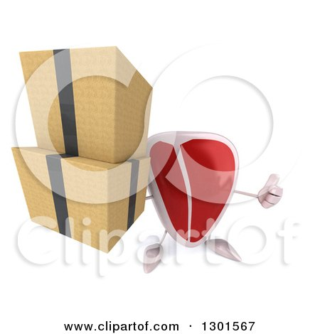 Clipart of a 3d Beef Steak Character Holding up a Thumb and Boxes - Royalty Free Illustration by Julos