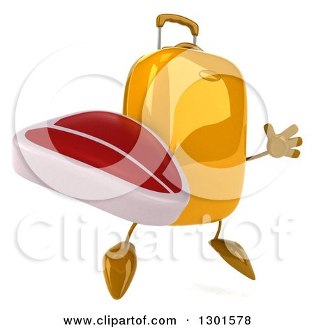 Clipart of a 3d Yellow Suitcase Character Facing Slightly Right, Jumping and Holding a Beef Steak - Royalty Free Illustration by Julos