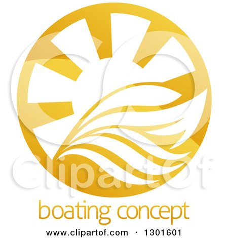 Clipart of a Shiny Golden Circle of a Yacht, Waves and Sun Rays over Sample Text - Royalty Free Vector Illustration by AtStockIllustration