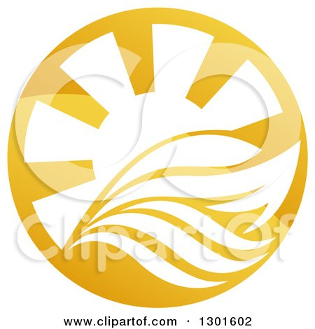 Clipart of a Shiny Golden Circle of a Yacht, Waves and Sun Rays - Royalty Free Vector Illustration by AtStockIllustration