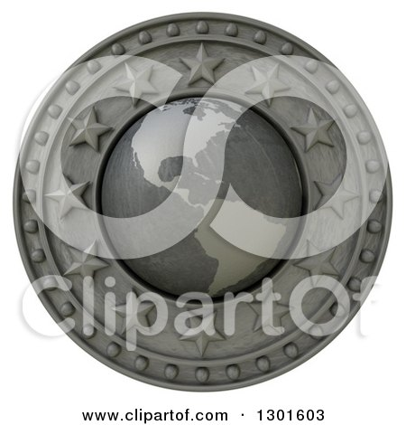 Clipart of a 3d Metal American Continent Globe Shield with Stars, on White - Royalty Free Illustration by Frank Boston