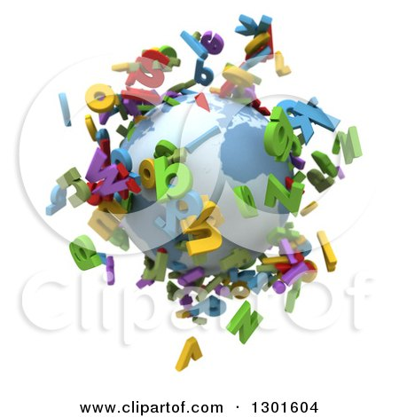 Clipart of a 3d Planet Earth with Colorful Flying Alphabet Letters on White - Royalty Free Illustration by Frank Boston