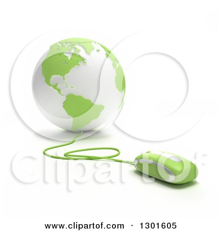 Clipart of a 3d Green and White Globe Wired to a Computer Mouse - Royalty Free Illustration by Frank Boston