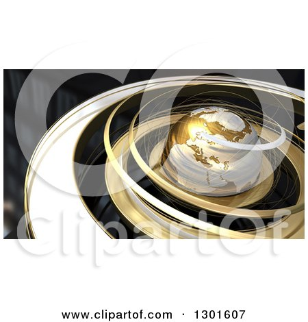 Clipart of a 3d Earth in Gold Orbit Spirals over Black - Royalty Free Illustration by Frank Boston