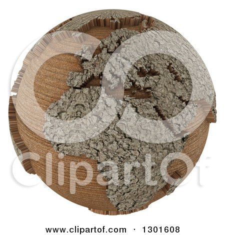 Clipart of a 3d Wood Earth Globe with Bark Continents over White - Royalty Free Illustration by Frank Boston