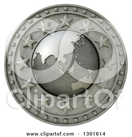 Clipart of a 3d Metal Asian Continent Globe Shield with Stars, on White - Royalty Free Illustration by Frank Boston