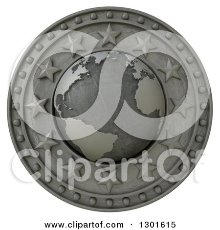 Clipart of a 3d Metal Atlantic Globe Shield with Stars, on White - Royalty Free Illustration by Frank Boston