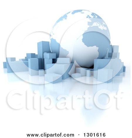 Clipart of a 3d Blue and White Atlantic Earth Globe with Boxes and a Reflection on White - Royalty Free Illustration by Frank Boston