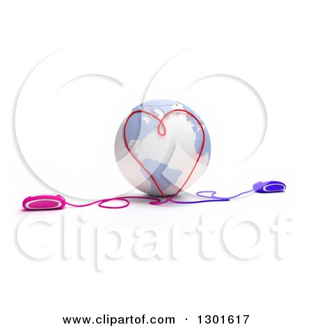 Clipart of a 3d Pastel Blue and White Earth Globe with Computer Mice at Opposite Ends, Meeting with Cables and Forming a Heart, on White - Royalty Free Illustration by Frank Boston