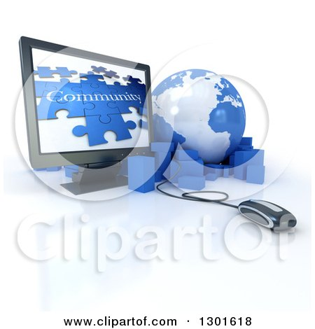 Clipart of a 3d Blue and White Globe Earth with Packages, a Computer Mouse and Screen with a Community Puzzle, over White - Royalty Free Illustration by Frank Boston