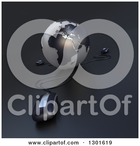 Clipart of a 3d Black and Gray Globe Wired to Computer Mice - Royalty Free Illustration by Frank Boston