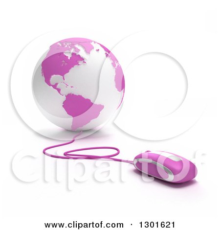 Clipart of a 3d Pink and White Globe Wired to Computer Mice - Royalty Free Illustration by Frank Boston