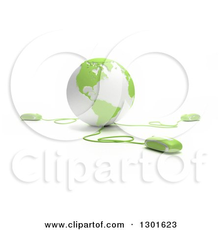 Clipart of a 3d Green and White Globe Wired to Computer Mice - Royalty Free Illustration by Frank Boston