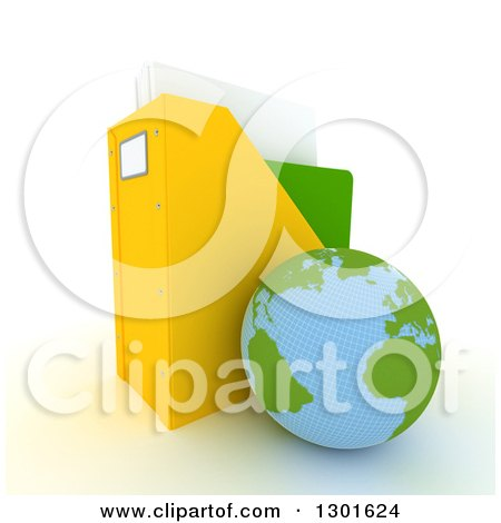 Clipart of a 3d Atlantic Planet Earth Globe Leaning Against a Binder Organiser on White - Royalty Free Illustration by Frank Boston
