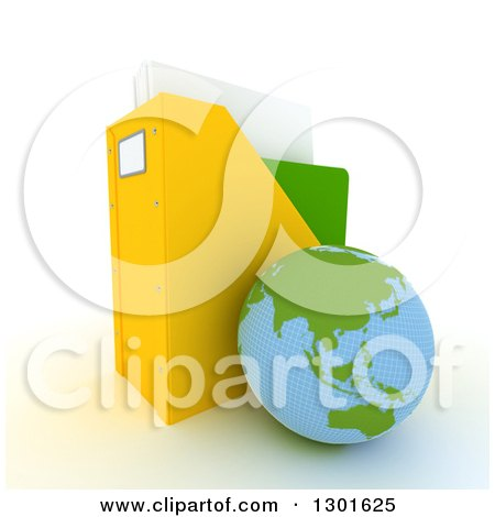 Clipart of a 3d Asian Planet Earth Globe Leaning Against a Binder Organiser on White - Royalty Free Illustration by Frank Boston