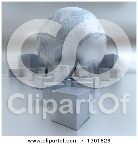 Clipart of a 3d Silver Earth Globe with Cube Boxes - Royalty Free Illustration by Frank Boston