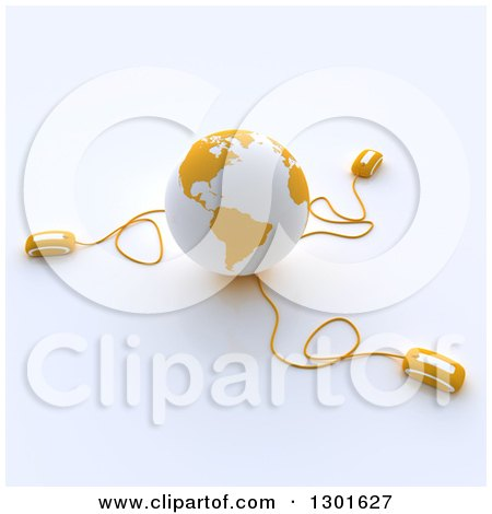 Clipart of a 3d Yellow and White Globe Wired to Computer Mice 2 - Royalty Free Illustration by Frank Boston