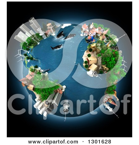 Clipart of a 3d Ecology Oriented Planet Earth with Animals and Continents, over Black - Royalty Free Illustration by Frank Boston