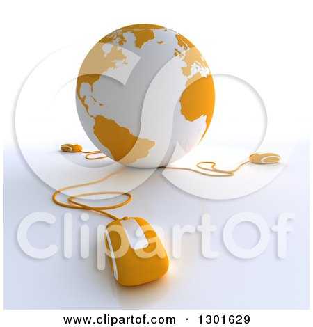 Clipart of a 3d Yellow and White Globe Wired to Computer Mice - Royalty Free Illustration by Frank Boston
