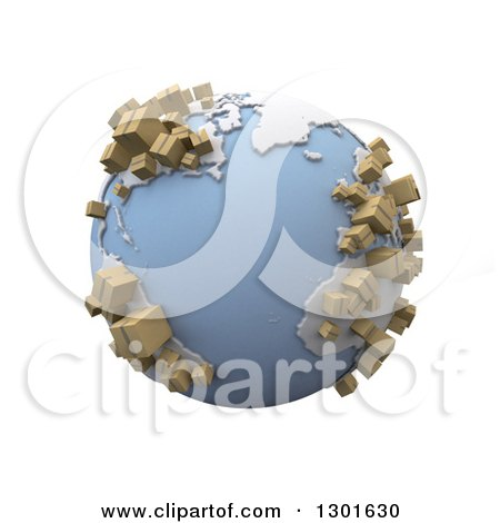 Clipart of a 3d Blue Earth Globe with Cardboard Shipping Boxes on the Continents, over White - Royalty Free Illustration by Frank Boston
