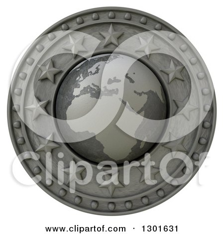 Clipart of a 3d Metal Europe Continent Globe Shield with Stars, on White - Royalty Free Illustration by Frank Boston
