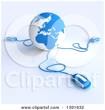 Clipart of a 3d Blue and White Globe Wired to Computer Mice 2 - Royalty Free Illustration by Frank Boston