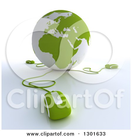 Clipart of a 3d Green and White Globe Wired to Computer Mice 2 - Royalty Free Illustration by Frank Boston
