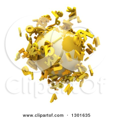 Clipart of a 3d Planet Earth with Yellow Flying Alphabet Letters on White - Royalty Free Illustration by Frank Boston