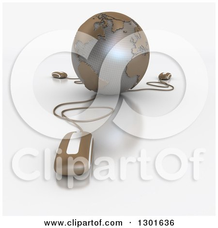 Clipart of a 3d Brown Grid Globe Wired to Computer Mice - Royalty Free Illustration by Frank Boston