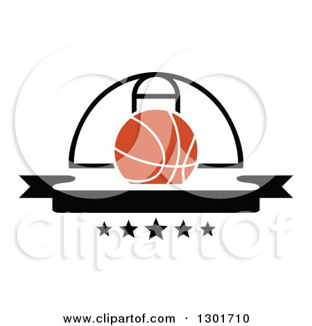 Clipart of a Blank Black Banner with an Orange Basketball and Hoop - Royalty Free Vector Illustration by Vector Tradition SM