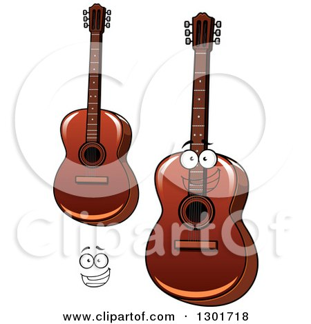 Clipart of a Cartoon Happy Face and Acoustic Guitars - Royalty Free Vector Illustration by Vector Tradition SM