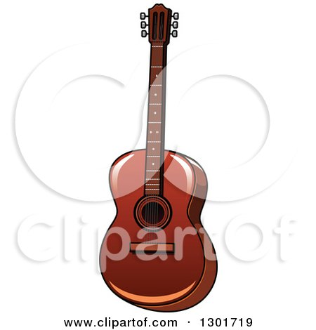 Clipart of a Cartoon Acoustic Guitar - Royalty Free Vector Illustration by Vector Tradition SM