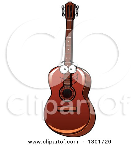 Clipart of a Cartoon Acoustic Guitar Character - Royalty Free Vector Illustration by Vector Tradition SM