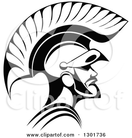 Clipart of a Black and White Angry Spartan Warrior in a Helmet - Royalty Free Vector Illustration by Vector Tradition SM